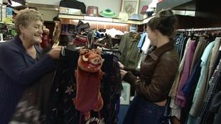 Shoppers in Maerdy Charity Shop