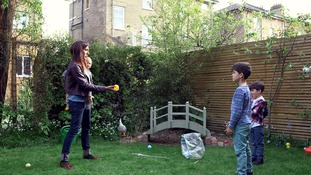 mum and kids in garden