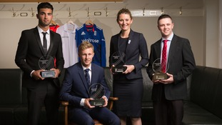 ECB award winners Saqib Mahmood, Joe Root, Charlotte Edwards and Luke Sugg
