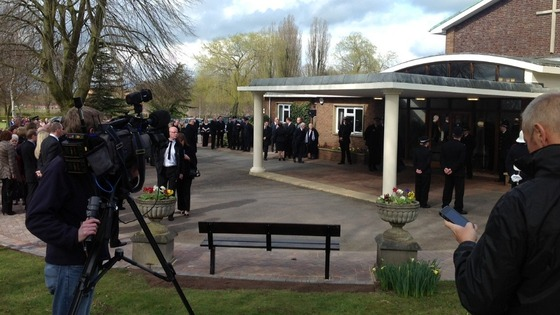 amily and friends arriving at the Tixall Road Crematorium in Stafford for the funeral of PC David Rathband