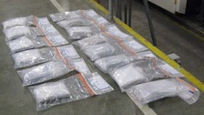 A haul of 17kg of cocaine worth an estimated £1 million was seized at Harwich docks.