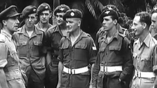 Soldiers in a 'Calling Blighty' film.