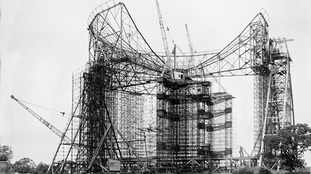 An old picture of construction of the famous Lovell telescope.