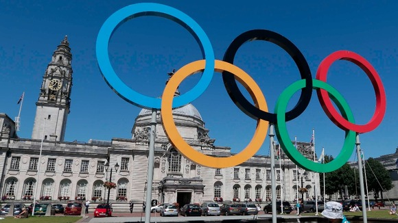 Olympic signs in Cardiff city centre
