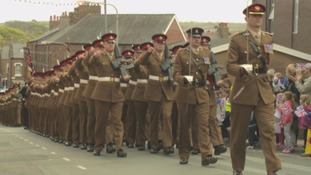 Troops march through Maryport