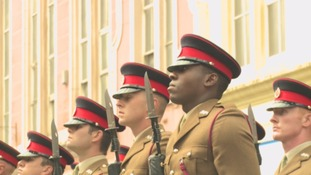 Soldiers on parade in Maryport