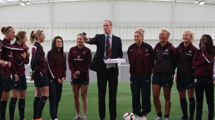 The Duke of Cambridge meets the England women senior football team.