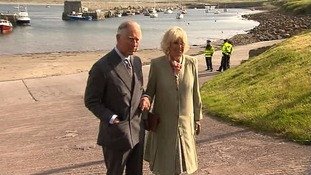 Prince Charles and the Duchess of Cornwall on the bay where Lord Mountbatten set out before the IRA bomb.