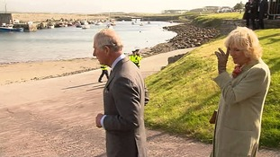 Prince Charles looks out on the bay where Lord Mountbatten set out before the IRA bomb was detonated.