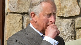 Prince Charles as he looks out at the harbour where his great uncle was killed.