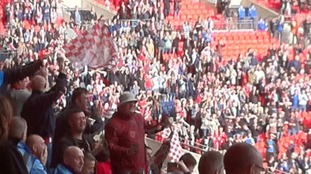 North Shields fans celebrating at Wembley.