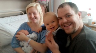 Sam Bell with newborn Chloe, son Mitchell and partner Matt Terman.