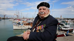 World War II Dunkirk veteran Ted Oates visits Ramsgate Harbour in Kent.