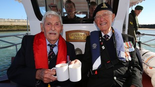 Michael Bentall, 94, (left) and Garth Wright (95) on board the Little Ship the Princess Freda