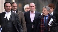 Former footballers Gary Mabutt (centre left) and Paul Gascoigne (centre right) at the High Court in March