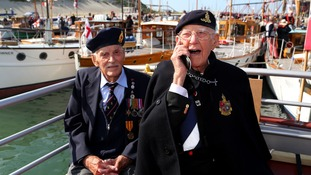 Dunkirk veterans Michael Bentall, 94, (left) and Garth Wright (95) on board the Little Ship the Princess Freda