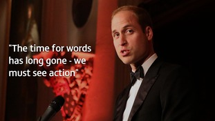 Prince William addresses dinner guests at Tusk's 25th anniversary.