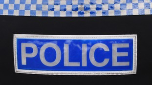 Police signage stock photo.
