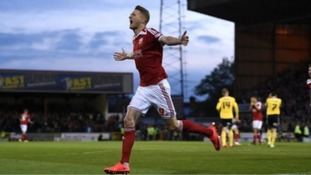Swindon Town's Michael Smith celebrates after scoring