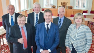 (Left to right back row) Eden District Council's new Executive: Councillor Adrian Todd, Councillor Mike Slee, Councillor Gordon Nicolson OBE, (front row) Councillor David Hymers, Councillor Kevin Beaty, Councillor Lesley Grisedale