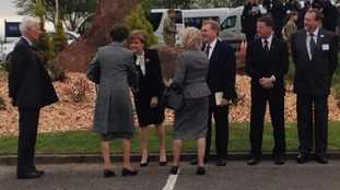 Princess Anne meeting First Minister Nicola Sturgeon as she arrives at the service