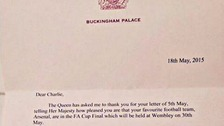 The Queen's reply on headed notepaper