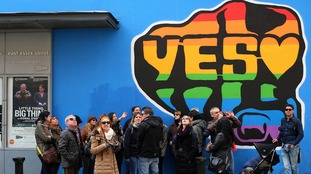 Hometovote thousands return to ireland to take part in for Dublin gay mural