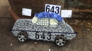 A car-shaped floral tribute from Keir Millar's parents