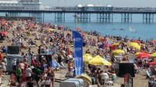 People on Brighton beach on Tuesday which was the hottest day of the year so far