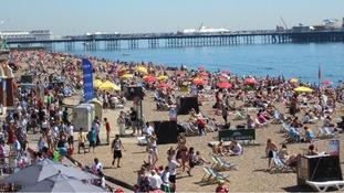 People enjoyed the sun on Brighton beach on Tuesday
