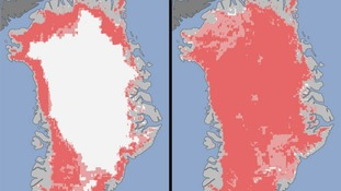 Extent of surface melt over Greenland's ice sheet on July 8 (left) and July 12 (right)