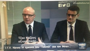Calendar's interview with Det Insp Jon Cousins and Det Supt Matt Fenwick was broadcast on Greek TV last night