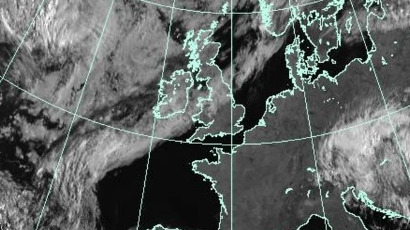 A Met Office satellite image of the UK taken at 0800