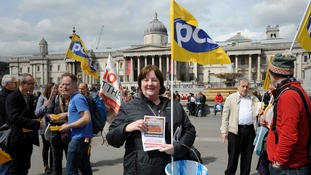 A striking PCS worker pictured outside the National Gallery on May 1.