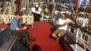 Some of the Meridian team enjoy the sunshine before setting off on a Tall Ship to London 2012