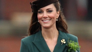 Kate wore a military style, racing green dress