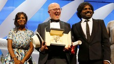 Palme d'Or: Kalieaswari Srinivasan, Jacques Audiard, and Jesuthasan Antonythasan
