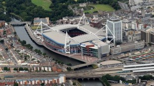 an aerial view of the Millennium Stadium in Cardiff