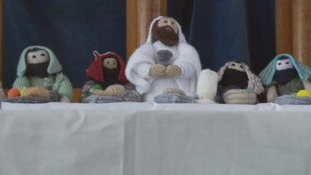 Mid-Wales church attracts visitors by knitting Bible