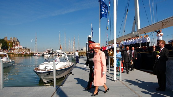 The Queen started the day onboard the ship Leander, owned by Sir Donald Gosling