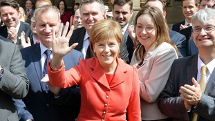 Nicola Sturgeon with some of her 56 SNP MPs in Westminster.