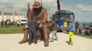 Seaham war sculpture in final resting place