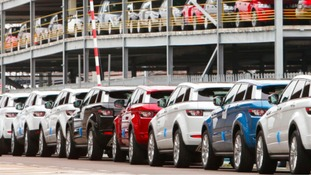 Jaguar Land Rover cars lined up for export