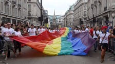 Revellers at London's gay pride festival