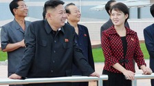 North Korean leader Kim Jong-Un with Ri Sol Ju at the Rungna People's Pleasure Ground.
