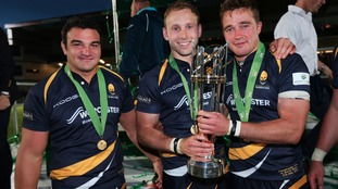 Worcester's Agustin Creevy, Chris Pennell and Alex Grove celebrate after victory in the Play Off Final, second leg match at Sixways Stadium, Worcester.