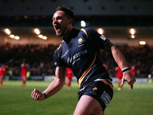 Worcester's Ryan Lamb celebrates kicking the winning conversion during the Play Off Final,
