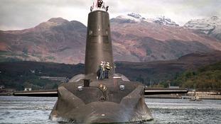 The 16,000 ton Trident-class nuclear submarine Vanguard