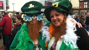 People joining in the St Patrick's day fun in Derby this lunchtime