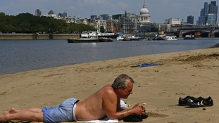 One of the few stretches of sand in central London